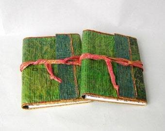 Notebook cover unique painted recycled newspaper green