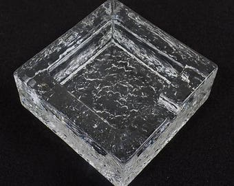 1960's-70's Ice Glass Ashtray ~ Modern Mid Century Style ...Video in Description