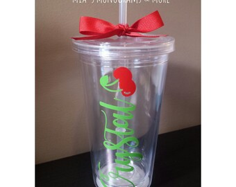 Personalized 16 oz Tumblers, Cherry Design With Your Name and Favorite Colors