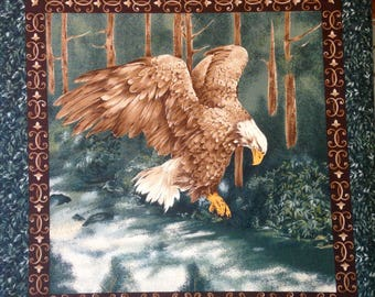 Bald Eagle bird fabric pillow panel, flying Eagle quilting fabric, green brown, approx 1 yard panel