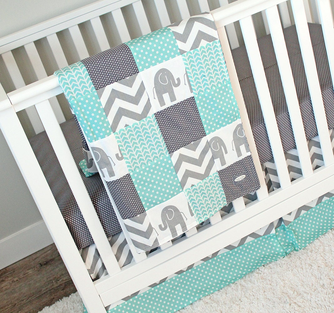 Elephant Crib Bedding Set Mint Grey Nursery