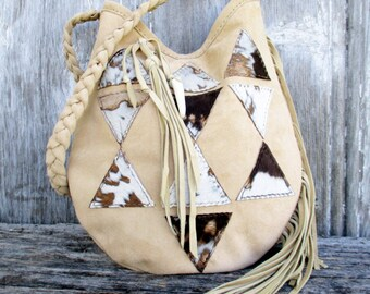 Leather Shoulder Bag - Geometric Triangle - Suede Leather Bohemian Boho Style Bag in Beige Neutral Color with Acid Wash Hide by Stacy Leigh