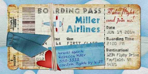Airplane Boarding Pass Invitation For Birthday Party Bon - Bon voyage party invitation template