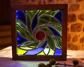 Stained glass spiral light framework