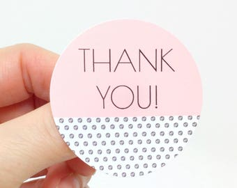 "24  2"" 50 mm Pink Polka Dot Thank You stickers, customer thank you, round thank you, packaging sticker, thank you seal, branding supplies"