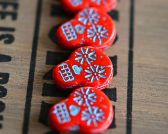 Haunted Faces - Czech Glass Beads, Opaque Coral Red, Turquoise Wash, Sugar Skulls 20x17mm - Pc 2