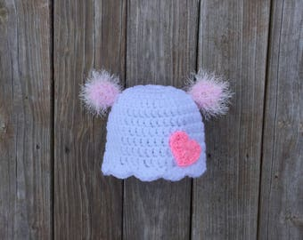Pom Pom Hat with Heart Double Pom Pom Hat with Heart Two Pom Pom Hat with Pink Heart Girls Pom Pom Hat Valentines Hat