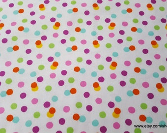 Flannel Fabric - Scattered Bright Dots - By the yard - 100% Cotton Flannel