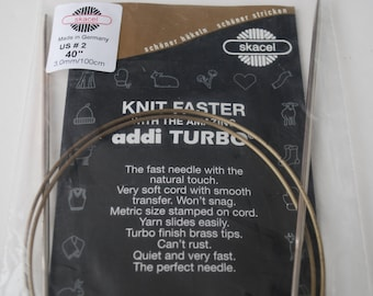 """Addi Turbo Skacel Circular Needles 40"""" US Size 2"""