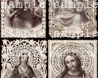 instant Digital Download Rare Antique French Paper Lace Holy Prayer Card Digital Collage Sheet Catholic Saint Jesus Sacred Hearts Madonna