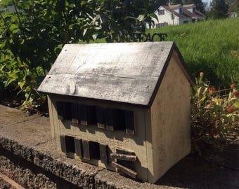 Primitive Salt Box House, Wooden House, Home Decor, Primitive Home Decor, Rustic Home Decor, Lighted House