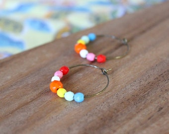 rainbow bright czech glass hoop earrings