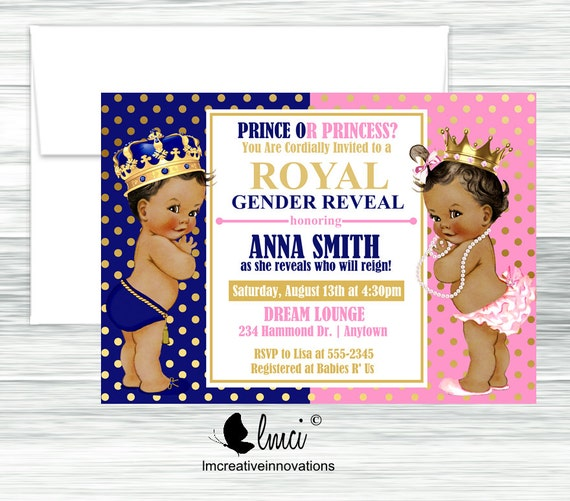 Royal Gender Reveal Royal Prince Baby Shower Invitation