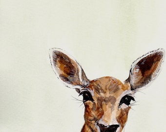 Print of a watercolour Deer illlustration