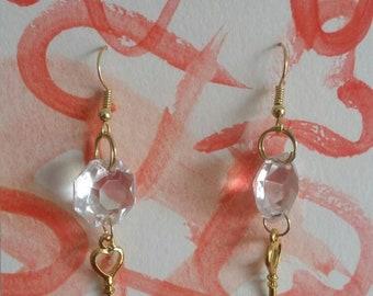 Vintage chandelier key earrings