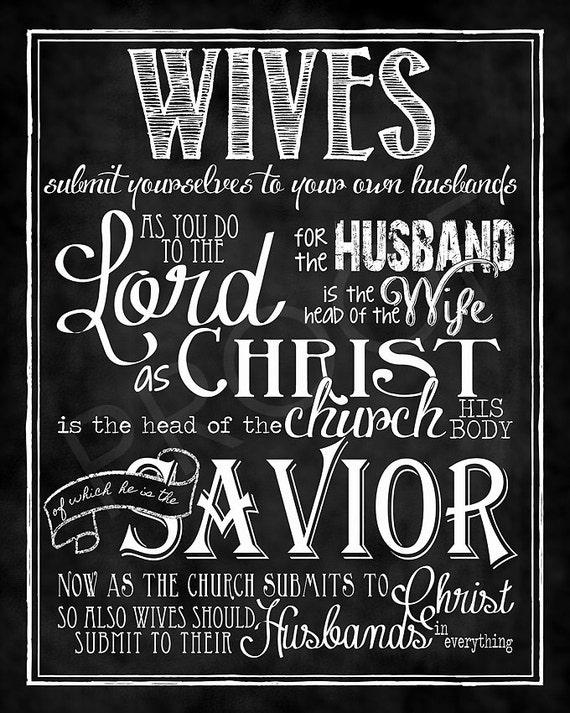 Scripture Art Ephesians 5 22 24 Chalkboard Print