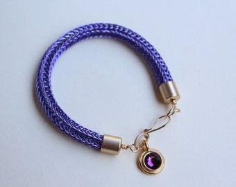 Amethyst Viking Knit Bracelet With Bezel Charm