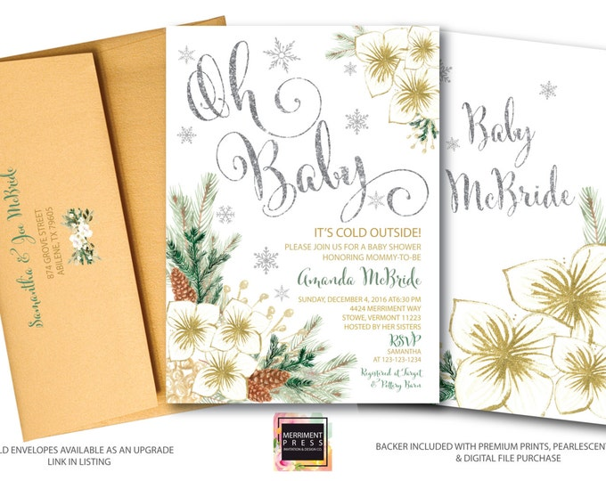 Oh Baby Shower Invitation // Snowflake Baby Shower // Winter Baby Shower  // Holiday Baby Shower // Silver // Gold // VERMONT COLLECTION
