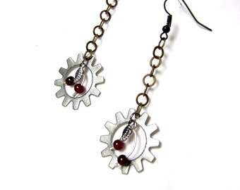 Sweet Cherry Earrings with Drop Steampunk Styling in Mixed Metals