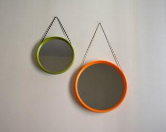 ON HOLD for Miriam. One Danish Round Hanging Wall Mirror. Mid Century Modern Circular Plastic Orange Green Mirror Denmark. TH Poss eftf