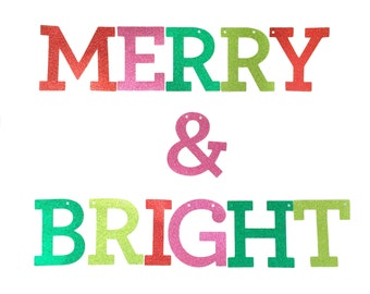 Merry & Bright Banner, Christmas Glitter Banner, Modern Christmas Party Decor, Holiday Party Decorations, Merry and Bright Banner