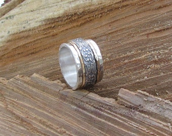 Silver spinner ring, 925 sterling silver, meditation ring, spinning ring, tribal ring, boho ring, Worry ring, statement ring, wide ring