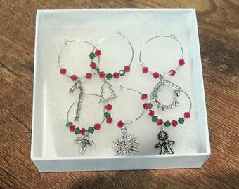 Christmas themed wine charms 6 pc set