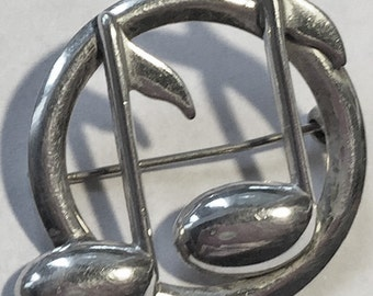 Vintage Sterling Silver Musical Note Circle Pin Brooch