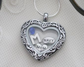 Navy necklace etsy navy mom locket navy mom necklace personalized navy necklace navy mom gift letter birthstone navy mom heart locket navy mom jewelry aloadofball Choice Image