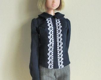 Navy blue blouse for momoko doll