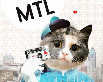 Cat Art Expo 67 Montreal 60s Mod Cats in Clothes Canada Retro - Heart MTL