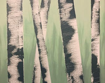 Small Canvas Painting--Birch Trees on Ombré Green