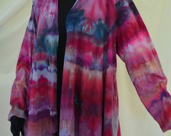 Cotton Jersey Waterfall jacket, One of a kind, Shibori dyed in red,purple,and blue size 2XX