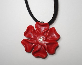"""Red polymer clay flower with Swarovski crystal center 16"""" necklace"""