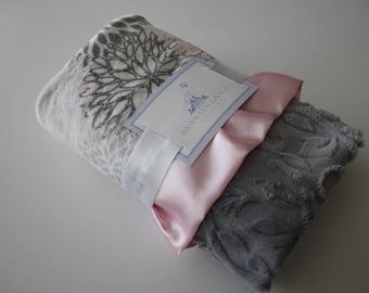 Premier Prints Blooms Mockingbird Cuddle Silver and Dark Gray, Blush, Baby Pink and White Minky Blanket, Crib Bedding, Nursery, Baby Shower