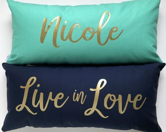Luxe Personalized Name Pillow Cover. Baby Name Pillow. Girls Room Pillow.