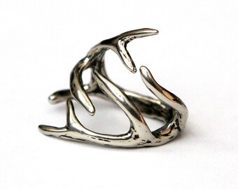 Deer Antler Ring Silver Deer Antler Ring in Solid White Bronze Deer Antlers Ring 075