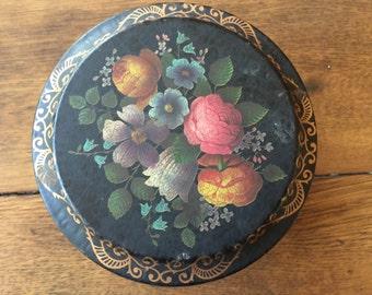 Round Black floral Tin Vintage England