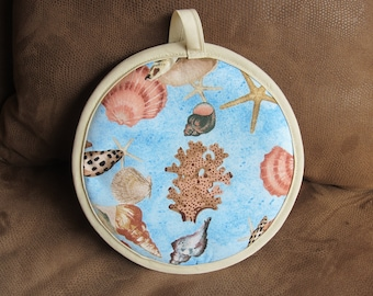 Footprints in the Sand with Seashells Potholder