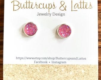Pink Druzy Stud Earrings 8mm, Light Pink Druzy Earrings, Go Pink for Taylor