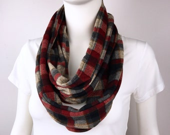 Red brown Infinity tube scarf Knit jersey Infinity tube scarf  cowl scarf circle scarf