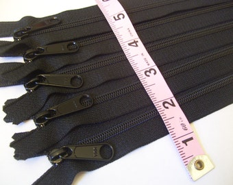 Ten black 12 inch Handbag YKK zippers with long pull - 4.5 coil - YKK black color 580