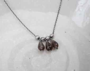 Smoky quartz necklace, dainty smoky quartz sterling silver necklace, oxidized sterling silver gemstone necklace