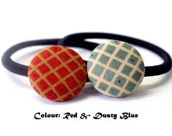 Christmas Checkered Ponytail Holder ~ Fabric Button ~ Covered Button ~ Hairband ~ Elastic Band (Set of 2) - 22mm (0.87 inch)