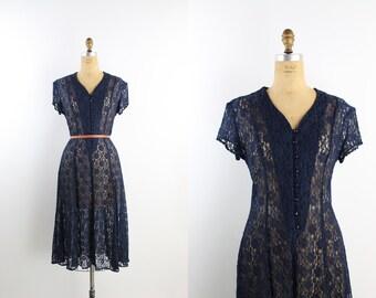 80s Blue Lace Boho Dress / Bohemian Dress / Sheer Dress / Navy Blue Lace / One Size