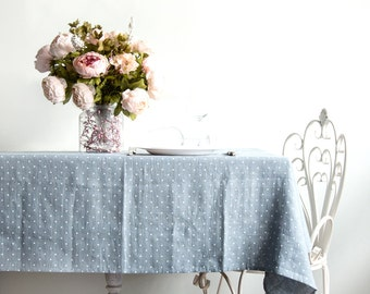 Linen Tablecloth - Polka dot dinning tablecloth - Natural linen softened tablecloth - Easter table top