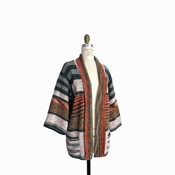 Vintage 70s Space Dyed Kimono Sleeve Sweater in Rust Brown & Gray / Shawl Collar Sweater / Boho Festival Sweater - women's medium