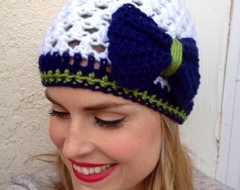 Seattle Seahawks Beanie, Crochet football hat, Football team colors, Womens football hat, Bow hat, Bow beanie winter hat (choose team)