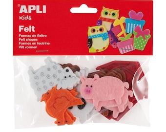 "18 assorted shapes ""Animals"" - APLI Kids - Ref 13785 felt - until the stock!"