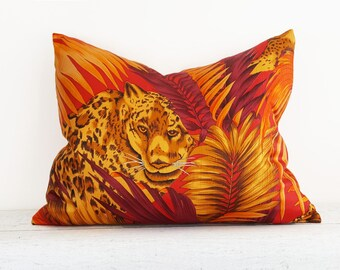 Animal Pillow, Orange Pillow, Colorful Pillows, Lumbar Pillow, Decorative Pillow Cover, Leopard Pillow, Red Yellow, Gold, Boho Gift, 14x20